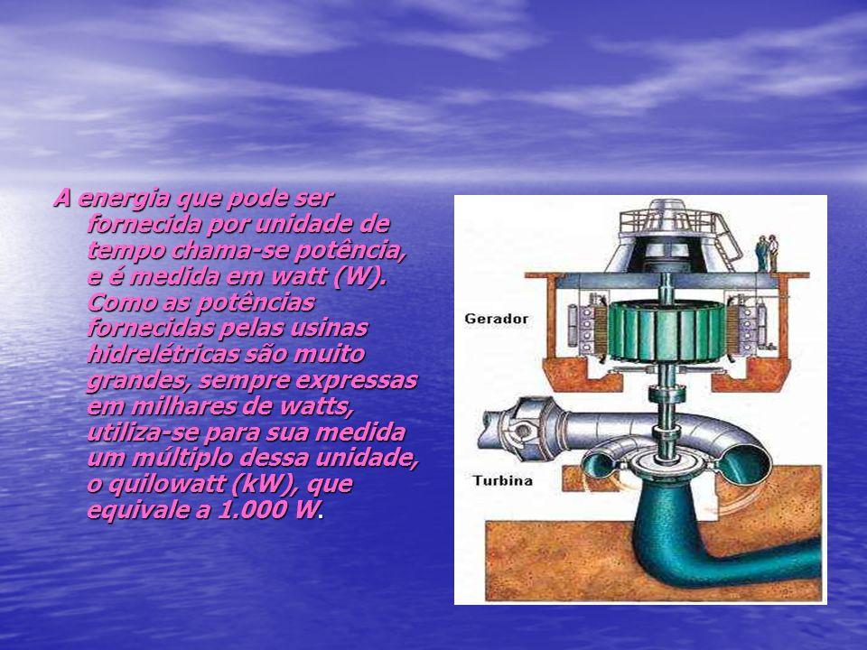 A energia que pode ser fornecida por unidade de tempo chama-se potência, e é medida em watt (W). Como as potências fornecidas pelas usinas hidrelétric