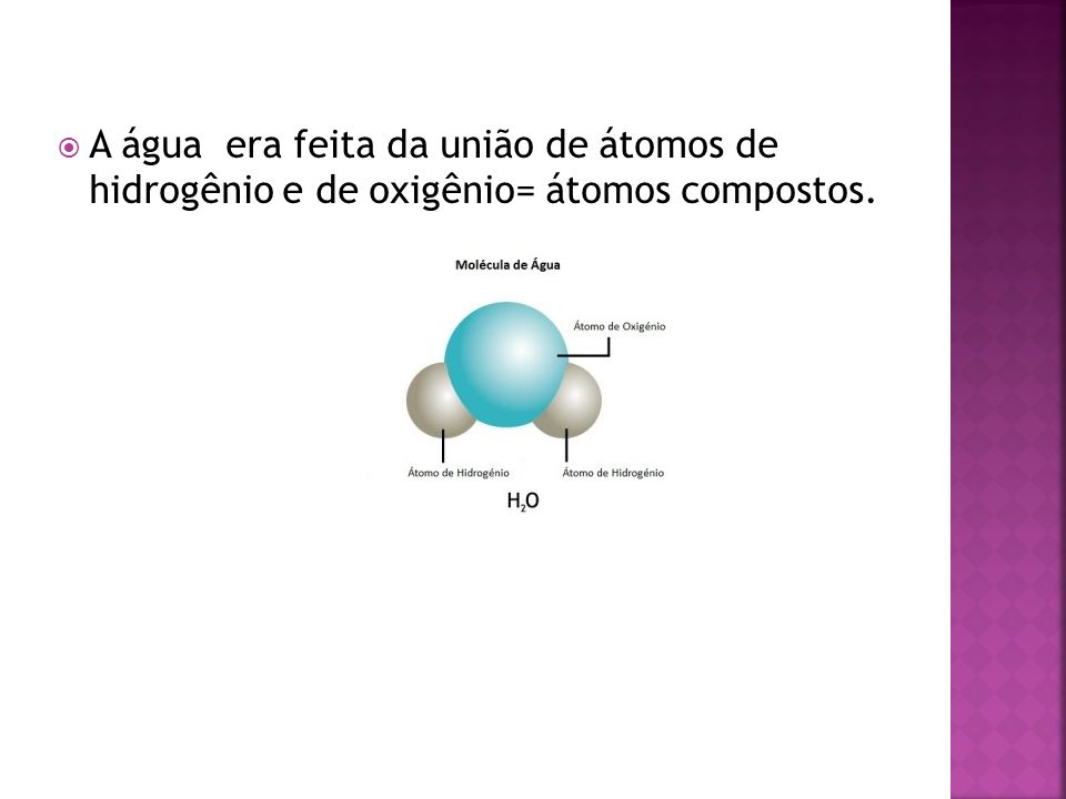 A água era feita da união de átomos de hidrogênio e de oxigênio= átomos compostos.