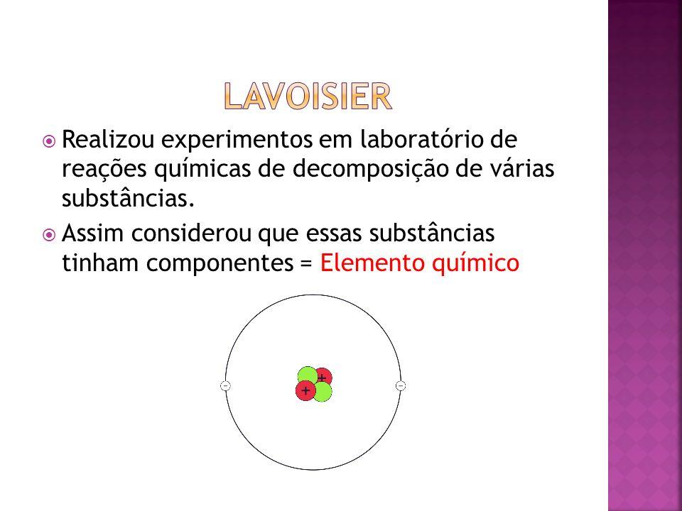 Realizou experimentos em laboratório de reações químicas de decomposição de várias substâncias. Assim considerou que essas substâncias tinham componen