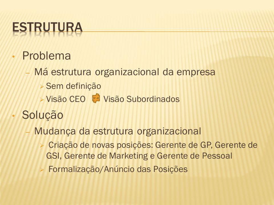 Problema – Má estrutura organizacional da empresa Sem definição Visão CEO Visão Subordinados Solução – Mudança da estrutura organizacional Criação de