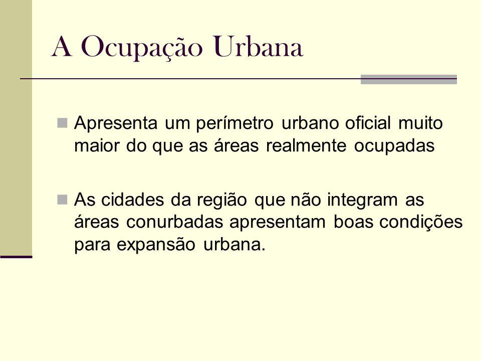 A Ocupação Urbana Apresenta um perímetro urbano oficial muito maior do que as áreas realmente ocupadas As cidades da região que não integram as áreas
