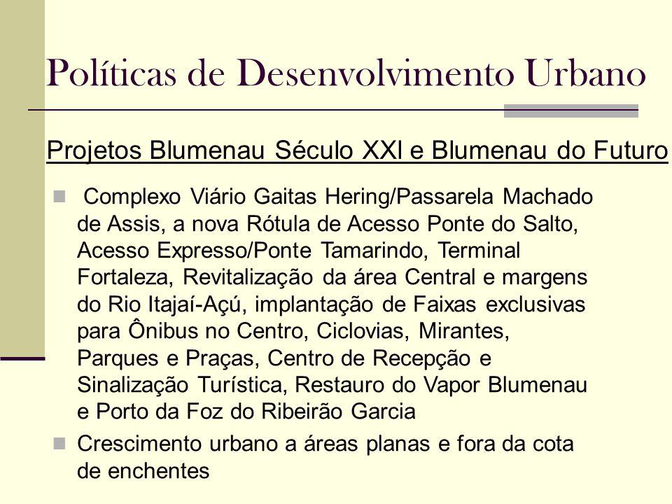 Políticas de Desenvolvimento Urbano Projetos Blumenau Século XXl e Blumenau do Futuro Complexo Viário Gaitas Hering/Passarela Machado de Assis, a nova