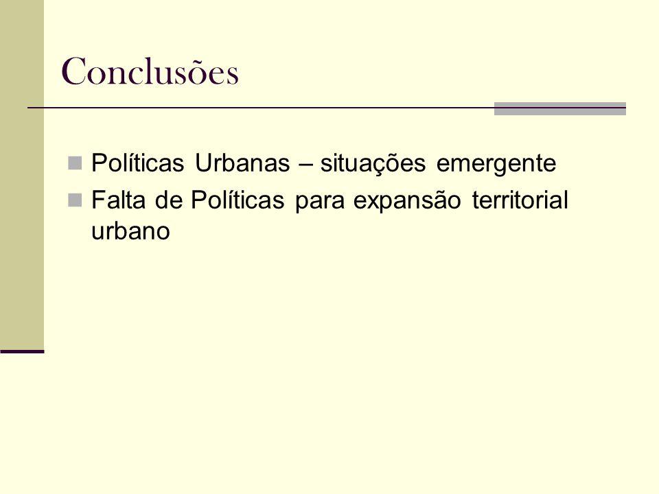 Conclusões Políticas Urbanas – situações emergente Falta de Políticas para expansão territorial urbano