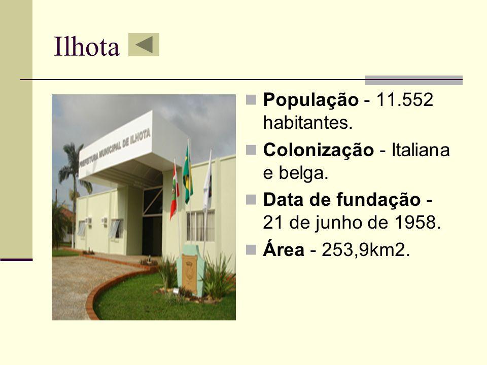 Ilhota População - 11.552 habitantes. Colonização - Italiana e belga. Data de fundação - 21 de junho de 1958. Área - 253,9km2.