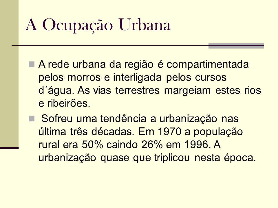 A Ocupação Urbana A rede urbana da região é compartimentada pelos morros e interligada pelos cursos d´água. As vias terrestres margeiam estes rios e r