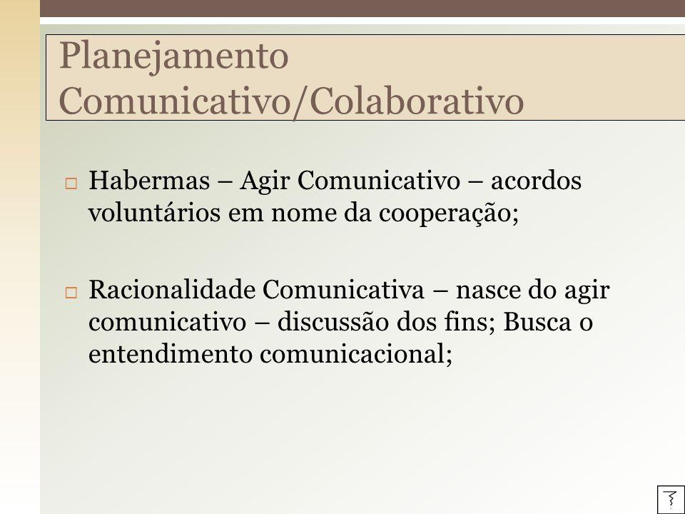 Agir Comunicativo – mais autonomia, autonomia individual e coletiva como pressuposto para a ação comunicativa; Consenso – alcançado somente com a livre participação de todos os participantes; Planejamento Comunicativo/Colaborativo
