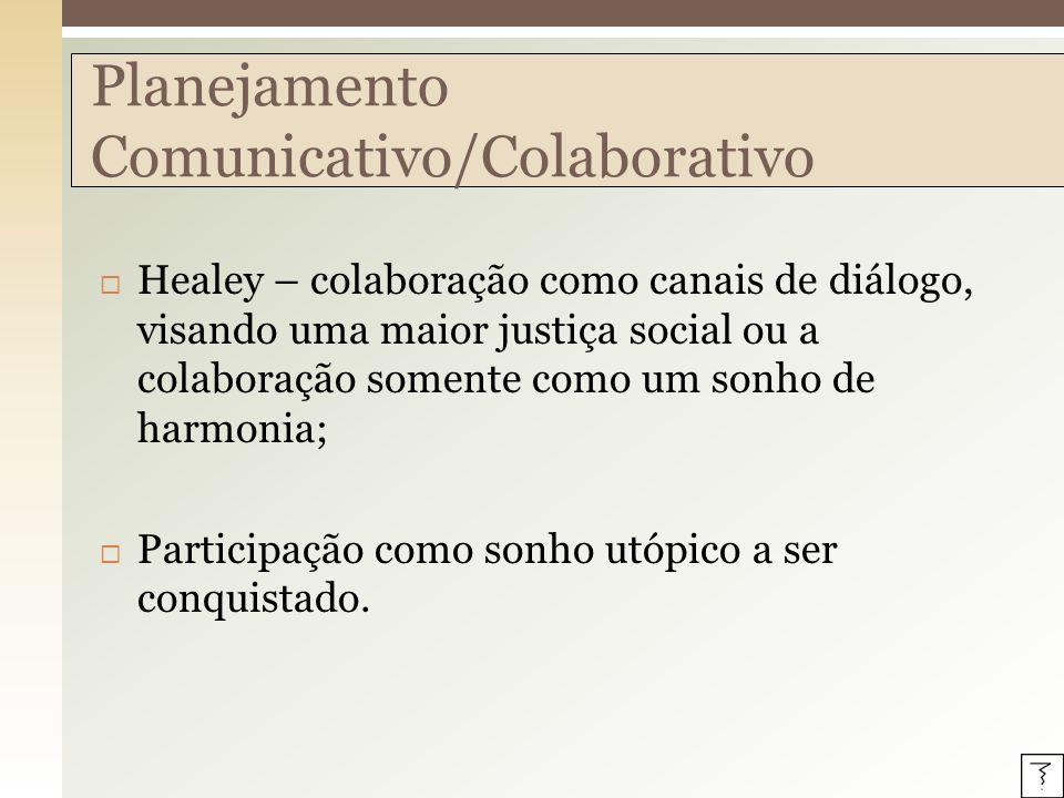Healey – colaboração como canais de diálogo, visando uma maior justiça social ou a colaboração somente como um sonho de harmonia; Participação como so