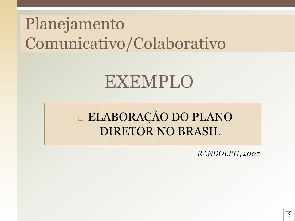 EXEMPLO Planejamento Comunicativo/Colaborativo ELABORAÇÃO DO PLANO DIRETOR NO BRASIL RANDOLPH, 2007