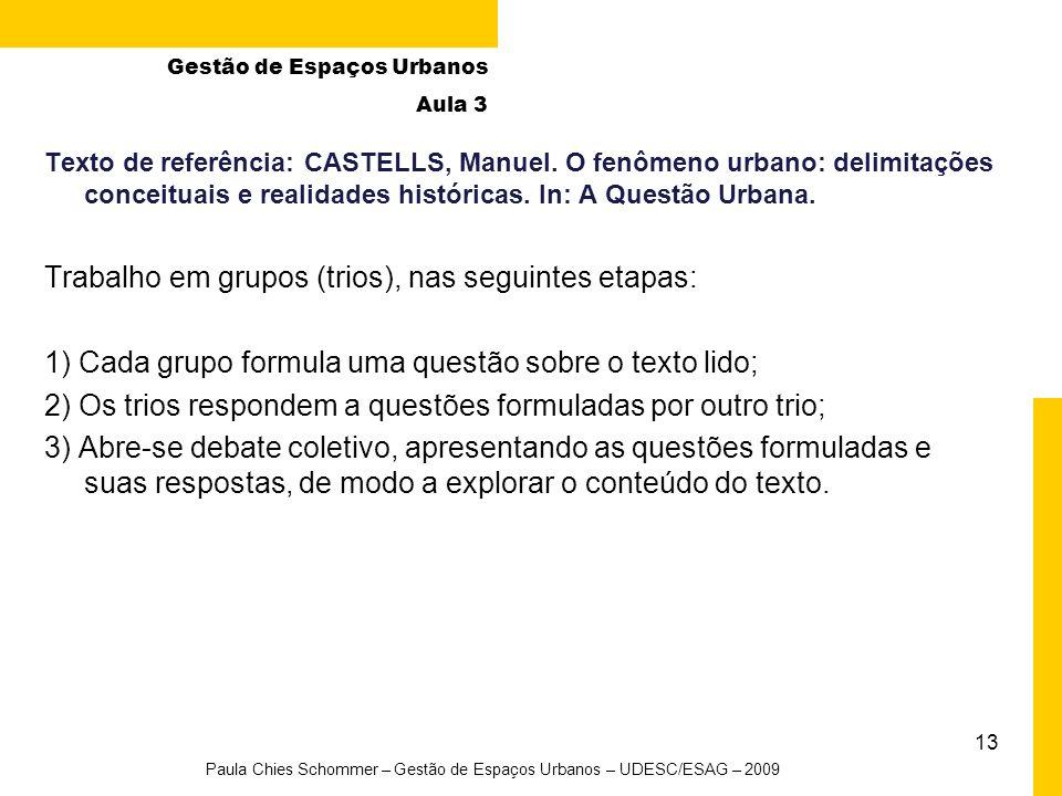 13 Paula Chies Schommer – Gestão de Espaços Urbanos – UDESC/ESAG – 2009 Texto de referência: CASTELLS, Manuel. O fenômeno urbano: delimitações conceit