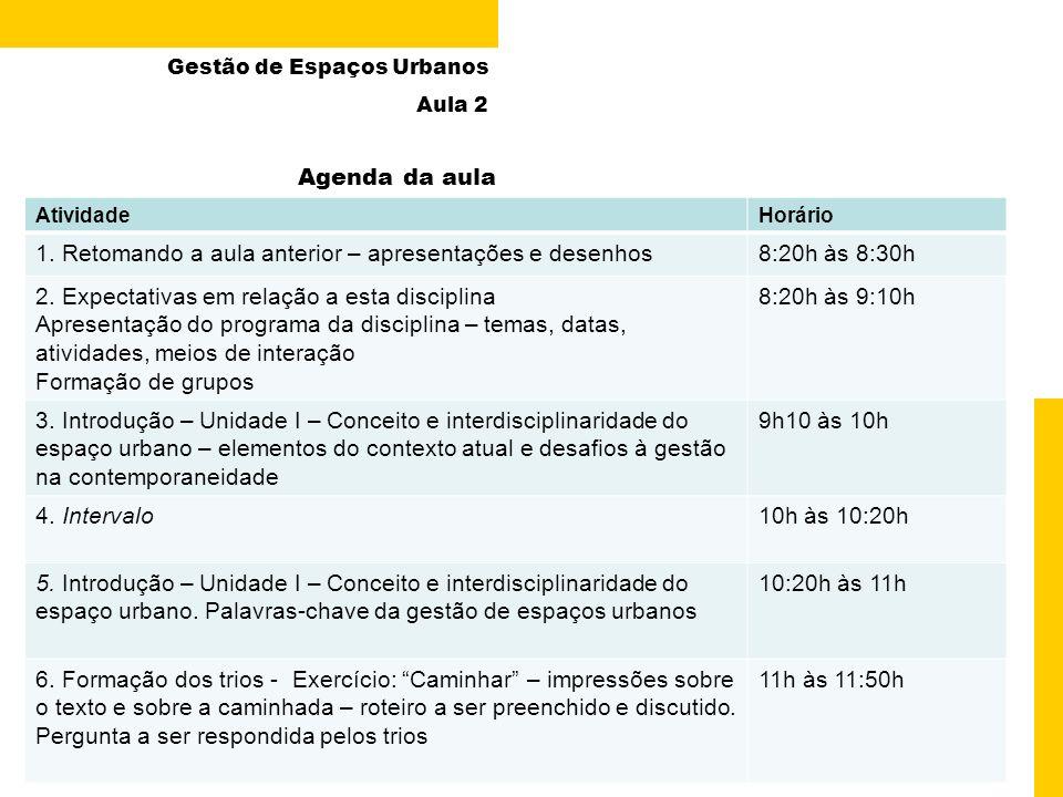 2 de 13 Gestão de Espaços Urbanos Aula 2 Agenda da aula Paula Chies Schommer – Gestão de Espaços Urbanos – UDESC/ESAG – 09 Março 2009 AtividadeHorário