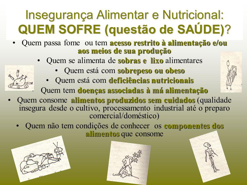 Insegurança Alimentar e Nutricional: QUEM SOFRE (questão de SAÚDE)? acesso restrito à alimentação e/ou aos meios de sua produçãoQuem passa fome ou tem