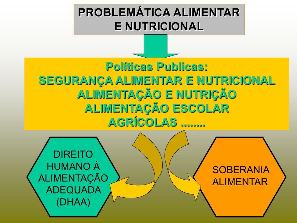 PROBLEMÁTICA ALIMENTAR E NUTRICIONAL Políticas Publicas: SEGURANÇA ALIMENTAR E NUTRICIONAL ALIMENTAÇÃO E NUTRIÇÃO ALIMENTAÇÃO ESCOLAR AGRÍCOLAS.......