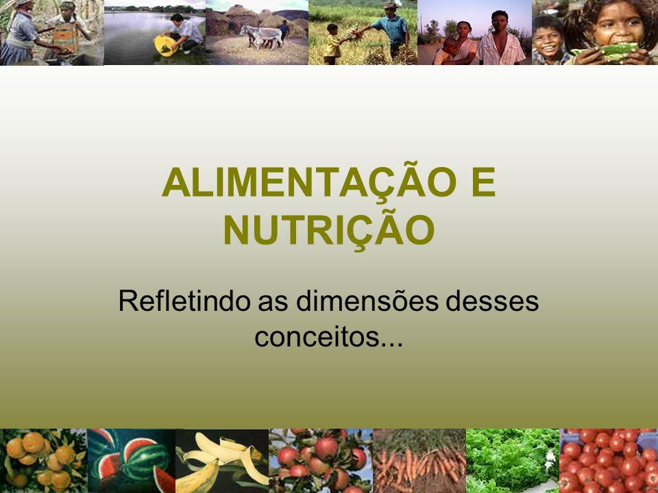 ALIMENTAÇÃO E NUTRIÇÃO Refletindo as dimensões desses conceitos...