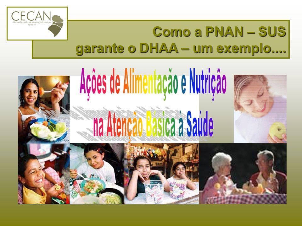 Como a PNAN – SUS garante o DHAA – um exemplo....