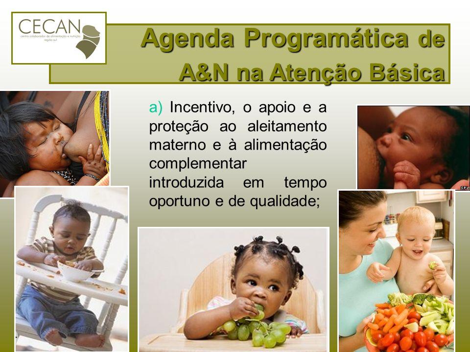 a) Incentivo, o apoio e a proteção ao aleitamento materno e à alimentação complementar introduzida em tempo oportuno e de qualidade; Agenda Programáti
