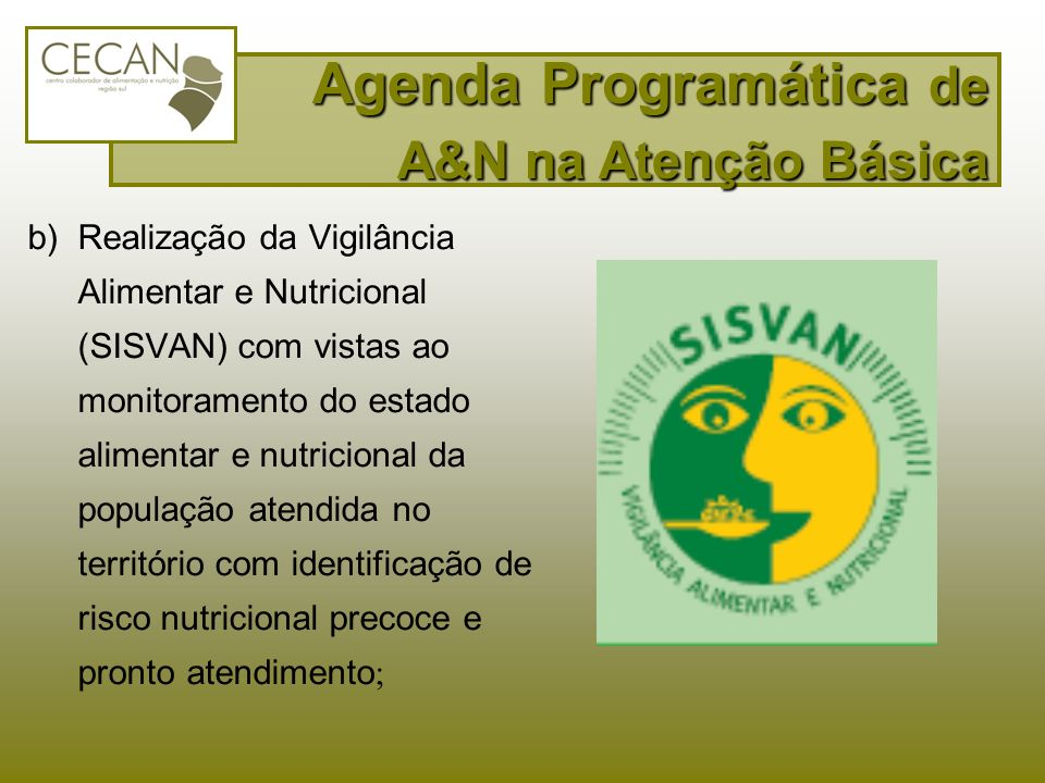 b)Realização da Vigilância Alimentar e Nutricional (SISVAN) com vistas ao monitoramento do estado alimentar e nutricional da população atendida no ter