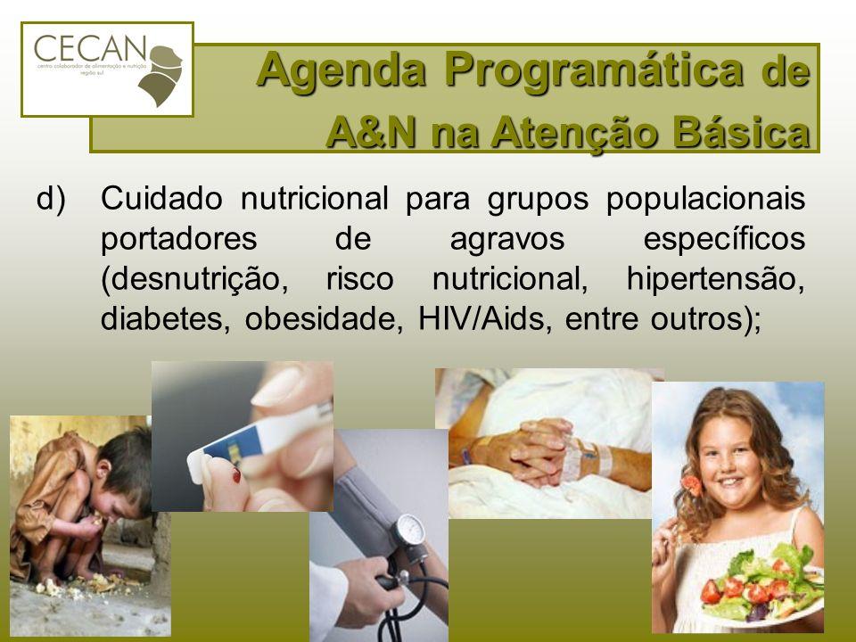 d)Cuidado nutricional para grupos populacionais portadores de agravos específicos (desnutrição, risco nutricional, hipertensão, diabetes, obesidade, H