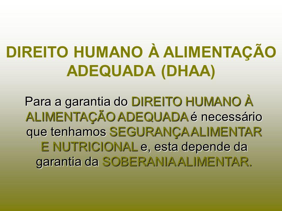 Para a garantia do DIREITO HUMANO À ALIMENTAÇÃO ADEQUADA é necessário que tenhamos SEGURANÇA ALIMENTAR E NUTRICIONAL e, esta depende da garantia da SO