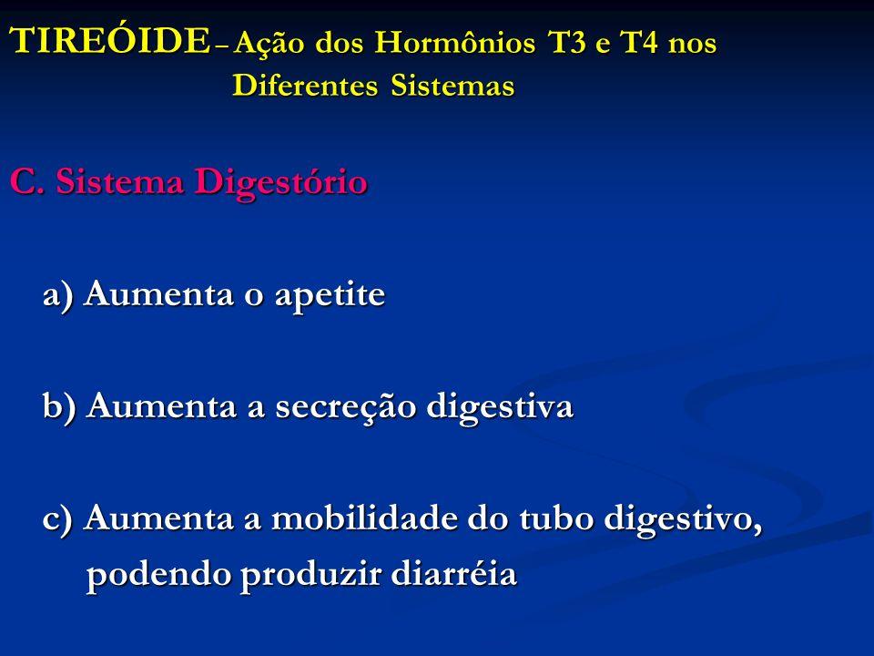 TIREÓIDE – Ação dos Hormônios T3 e T4 nos Diferentes Sistemas C. Sistema Digestório a) Aumenta o apetite b) Aumenta a secreção digestiva c) Aumenta a