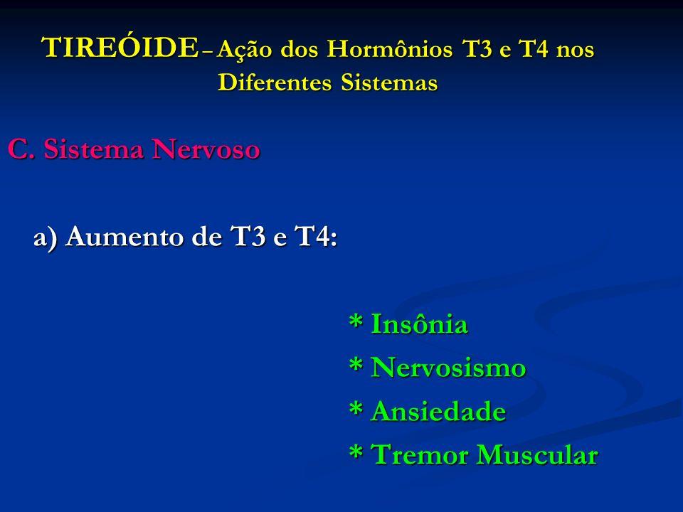 TIREÓIDE – Ação dos Hormônios T3 e T4 nos Diferentes Sistemas C. Sistema Nervoso a) Aumento de T3 e T4: * Insônia * Nervosismo * Ansiedade * Tremor Mu