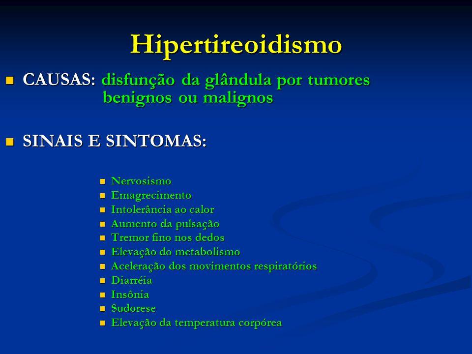 Hipertireoidismo CAUSAS: disfunção da glândula por tumores benignos ou malignos CAUSAS: disfunção da glândula por tumores benignos ou malignos SINAIS