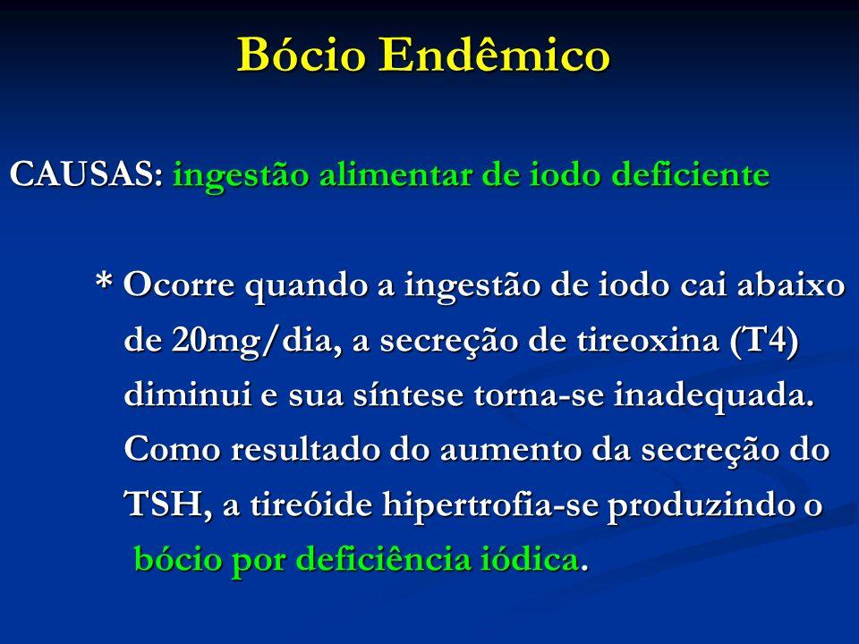 Bócio Endêmico CAUSAS: ingestão alimentar de iodo deficiente * Ocorre quando a ingestão de iodo cai abaixo de 20mg/dia, a secreção de tireoxina (T4) d