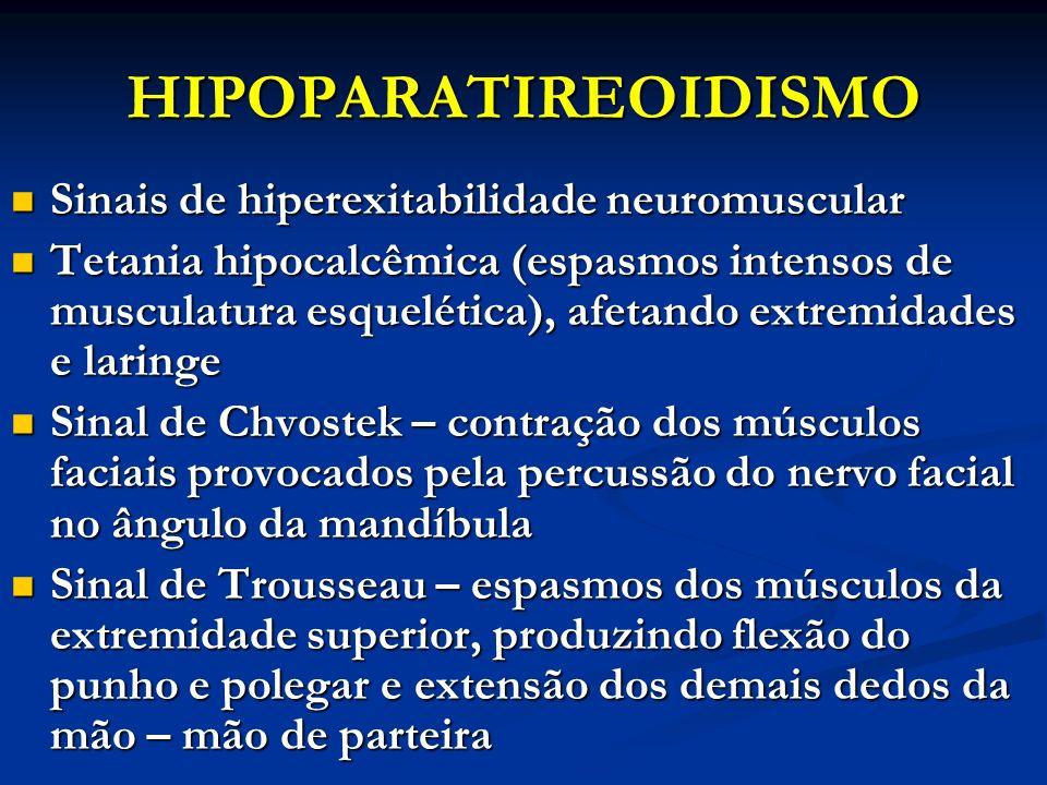 HIPOPARATIREOIDISMO Sinais de hiperexitabilidade neuromuscular Sinais de hiperexitabilidade neuromuscular Tetania hipocalcêmica (espasmos intensos de