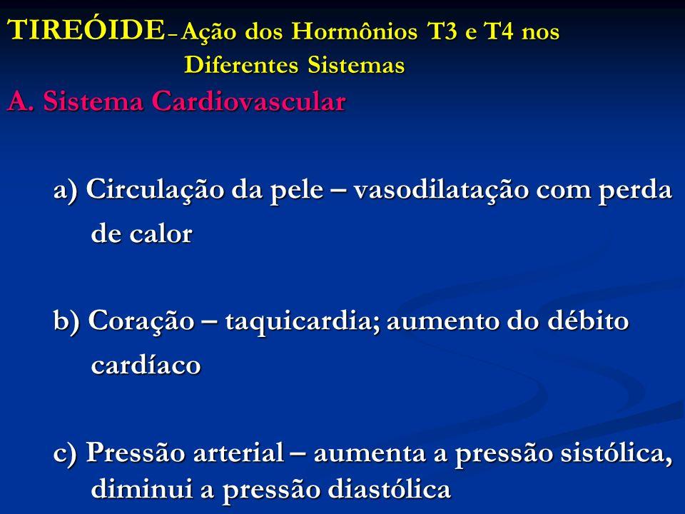 TIREÓIDE – Ação dos Hormônios T3 e T4 nos Diferentes Sistemas A. Sistema Cardiovascular a) Circulação da pele – vasodilatação com perda de calor de ca