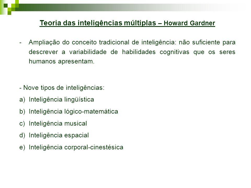 Teoria das inteligências múltiplas – Howard Gardner -Ampliação do conceito tradicional de inteligência: não suficiente para descrever a variabilidade