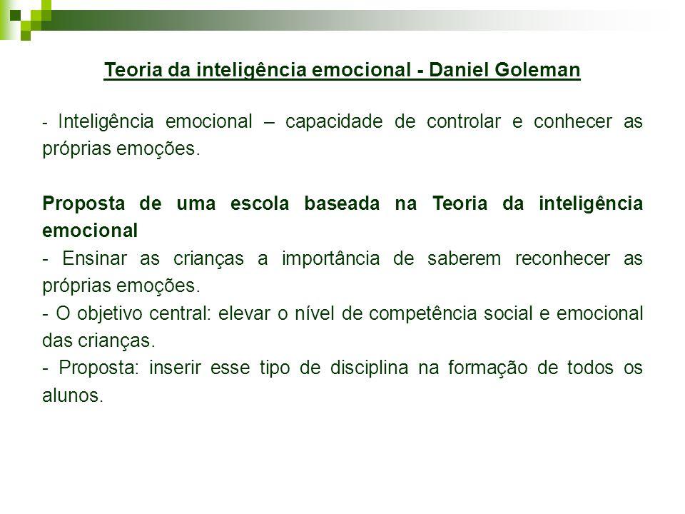 Teoria da inteligência emocional - Daniel Goleman - Inteligência emocional – capacidade de controlar e conhecer as próprias emoções. Proposta de uma e