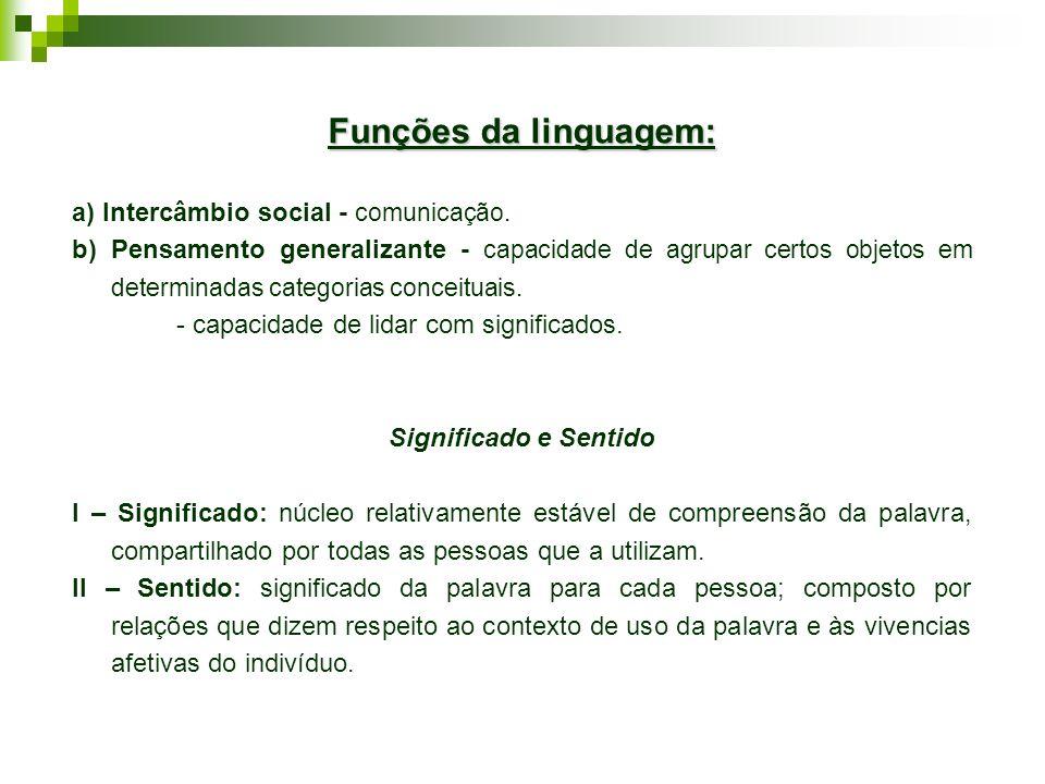 Funções da linguagem: a) Intercâmbio social - comunicação. b) Pensamento generalizante - capacidade de agrupar certos objetos em determinadas categori