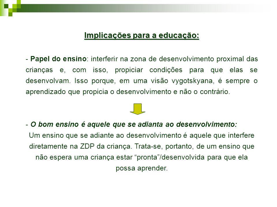 Implicações para a educação: - Papel do ensino: interferir na zona de desenvolvimento proximal das crianças e, com isso, propiciar condições para que