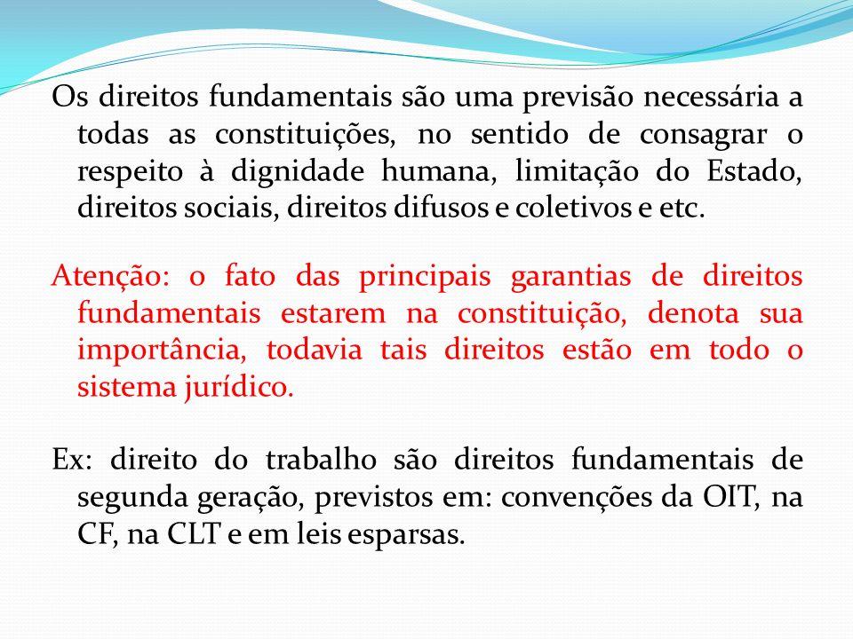 Os direitos fundamentais são uma previsão necessária a todas as constituições, no sentido de consagrar o respeito à dignidade humana, limitação do Est