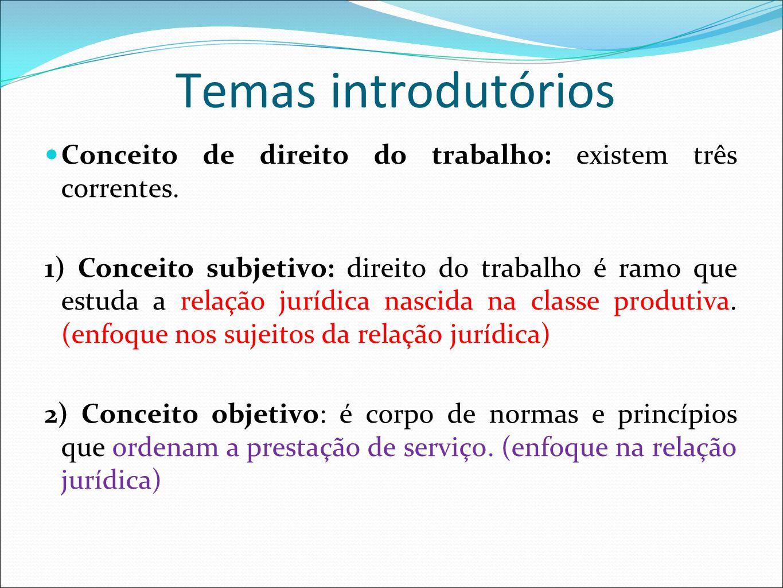Temas introdutórios Conceito de direito do trabalho: existem três correntes. 1) Conceito subjetivo: direito do trabalho é ramo que estuda a relação ju