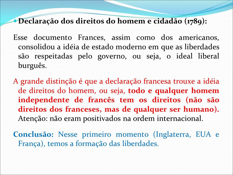 Declaração dos direitos do homem e cidadão (1789): Esse documento Frances, assim como dos americanos, consolidou a idéia de estado moderno em que as l