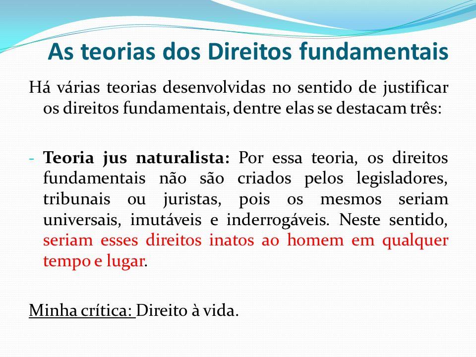 As teorias dos Direitos fundamentais Há várias teorias desenvolvidas no sentido de justificar os direitos fundamentais, dentre elas se destacam três: