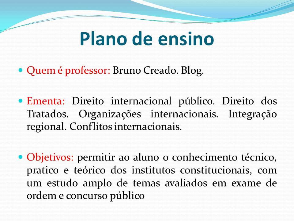 Plano de ensino Quem é professor: Bruno Creado. Blog. Ementa: Direito internacional público. Direito dos Tratados. Organizações internacionais. Integr