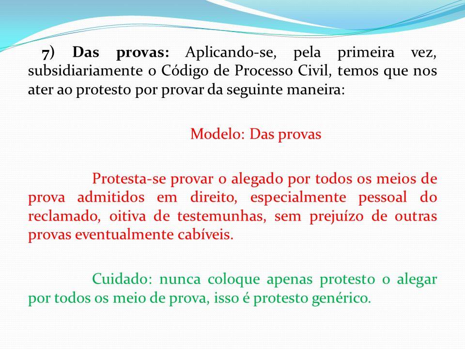 7) Das provas: Aplicando-se, pela primeira vez, subsidiariamente o Código de Processo Civil, temos que nos ater ao protesto por provar da seguinte man