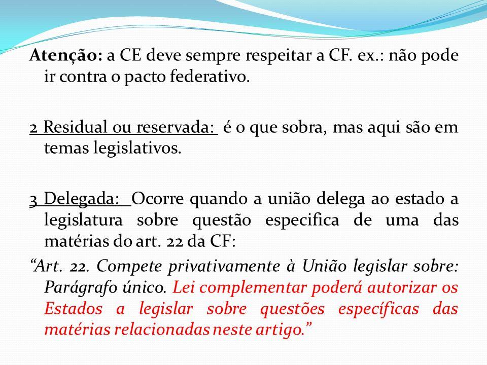 Atenção: a CE deve sempre respeitar a CF. ex.: não pode ir contra o pacto federativo. 2 Residual ou reservada: é o que sobra, mas aqui são em temas le