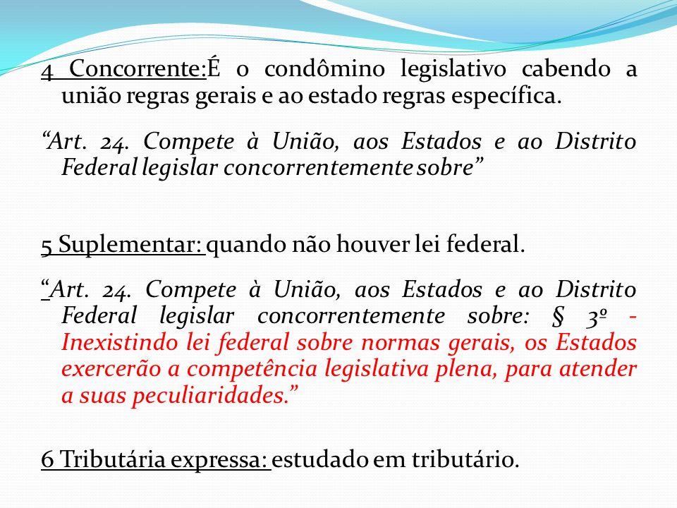 4 Concorrente:É o condômino legislativo cabendo a união regras gerais e ao estado regras específica. Art. 24. Compete à União, aos Estados e ao Distri