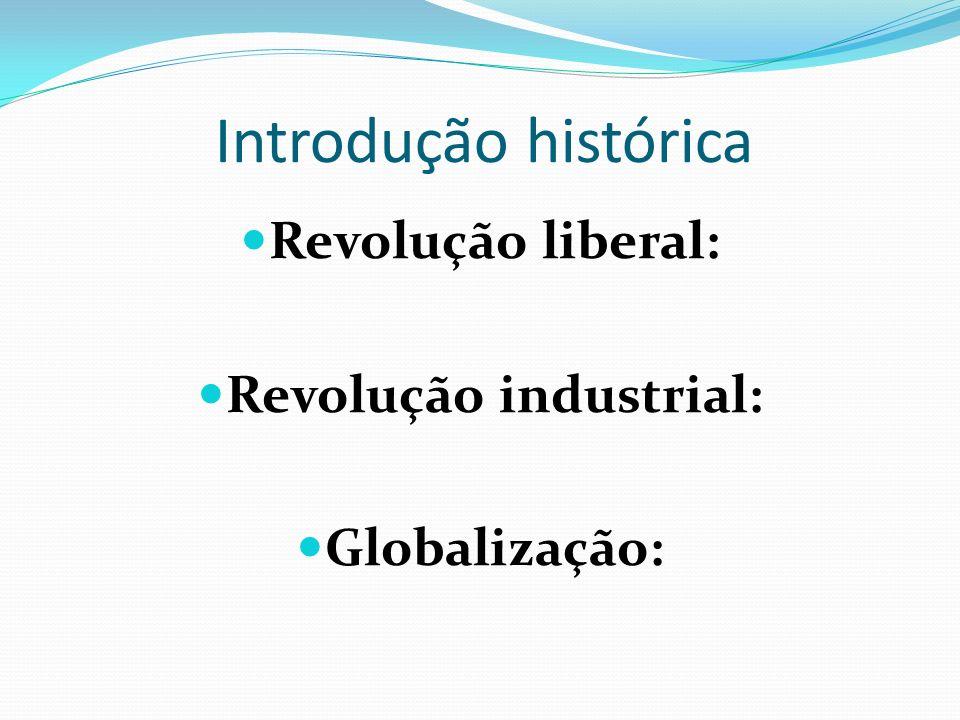 Introdução histórica Revolução liberal: Revolução industrial: Globalização: