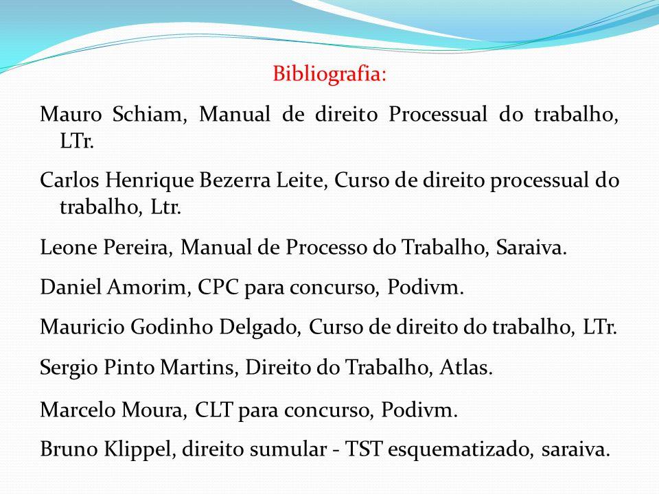 Bibliografia: Mauro Schiam, Manual de direito Processual do trabalho, LTr. Carlos Henrique Bezerra Leite, Curso de direito processual do trabalho, Ltr