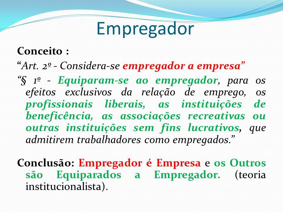 Empregador Conceito : Art. 2º - Considera-se empregador a empresa § 1º - Equiparam-se ao empregador, para os efeitos exclusivos da relação de emprego,