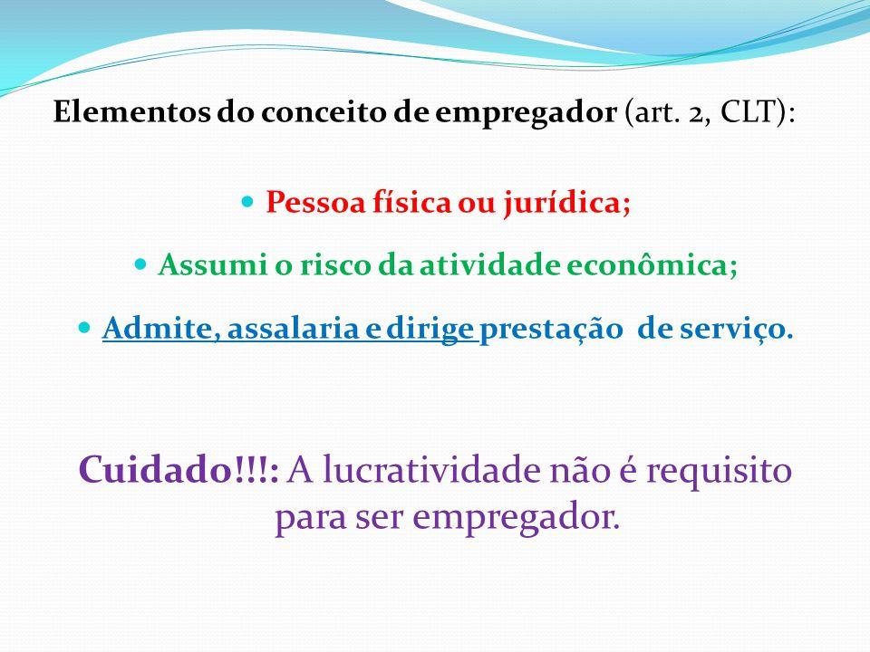 Elementos do conceito de empregador (art. 2, CLT): Pessoa física ou jurídica; Assumi o risco da atividade econômica; Admite, assalaria e dirige presta