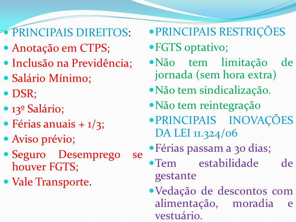 PRINCIPAIS DIREITOS: Anotação em CTPS; Inclusão na Previdência; Salário Mínimo; DSR; 13º Salário; Férias anuais + 1/3; Aviso prévio; Seguro Desemprego