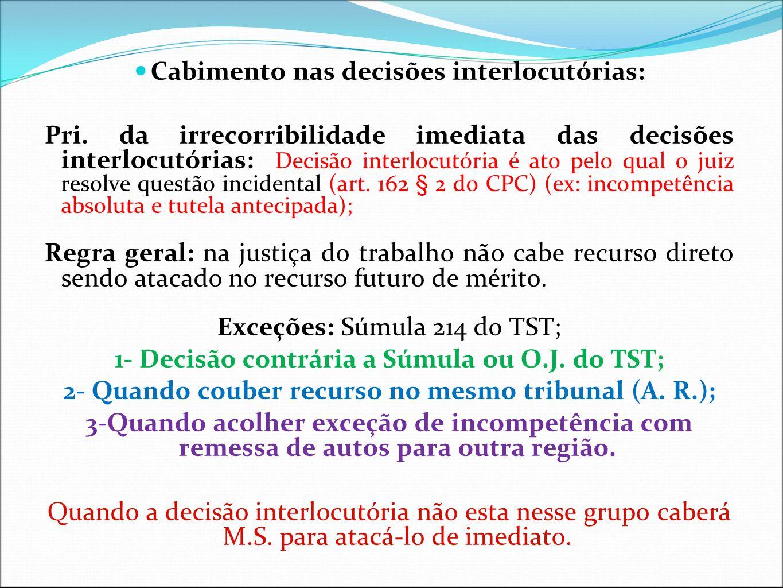 Cabimento nas decisões interlocutórias: Pri. da irrecorribilidade imediata das decisões interlocutórias: Decisão interlocutória é ato pelo qual o juiz