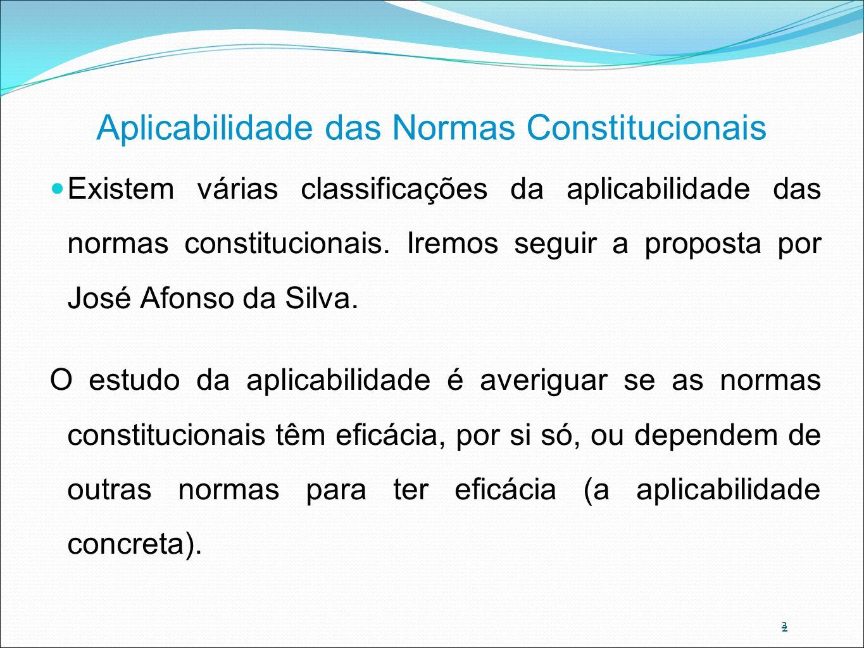2 Aplicabilidade das Normas Constitucionais Existem várias classificações da aplicabilidade das normas constitucionais. Iremos seguir a proposta por J