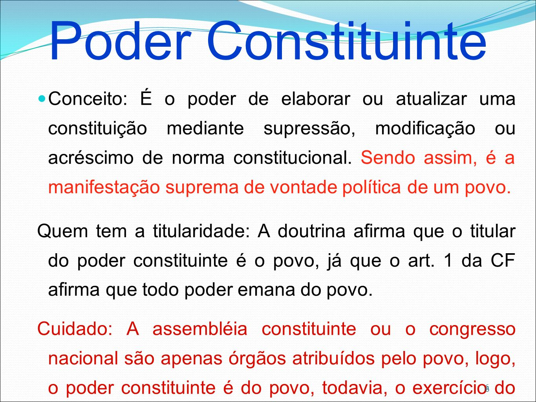 6 Poder Constituinte Conceito: É o poder de elaborar ou atualizar uma constituição mediante supressão, modificação ou acréscimo de norma constituciona