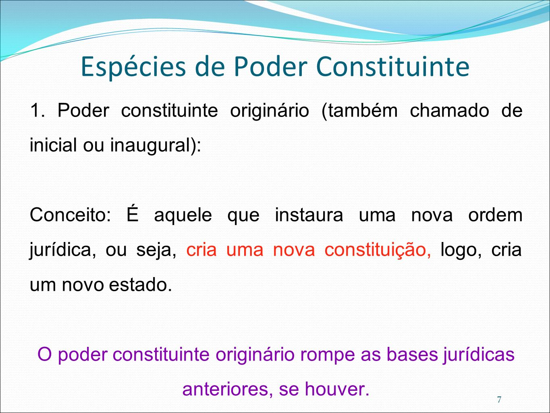 7 Espécies de Poder Constituinte 1. Poder constituinte originário (também chamado de inicial ou inaugural): Conceito: É aquele que instaura uma nova o