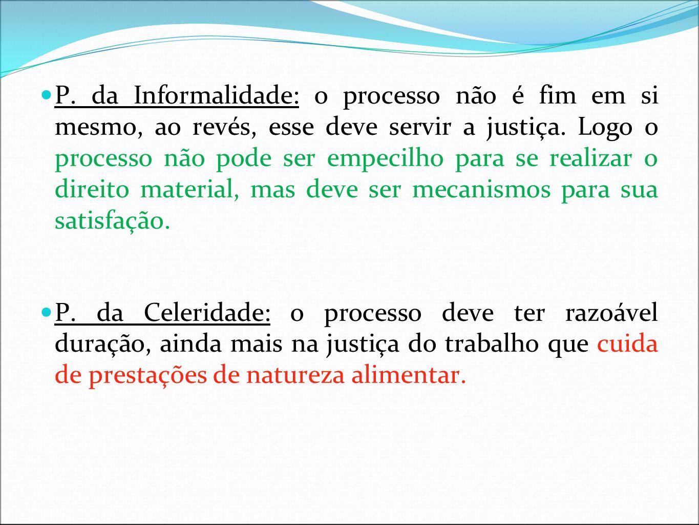 P.da subsidiariedade: Quando estamos diante de lacuna da CLT, em relação a temas processuais.